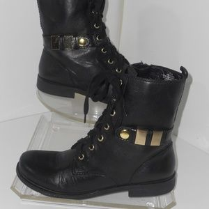 NINE WEST BLACK LEATHER ANKLE BOOTS SIZE 7.5 M